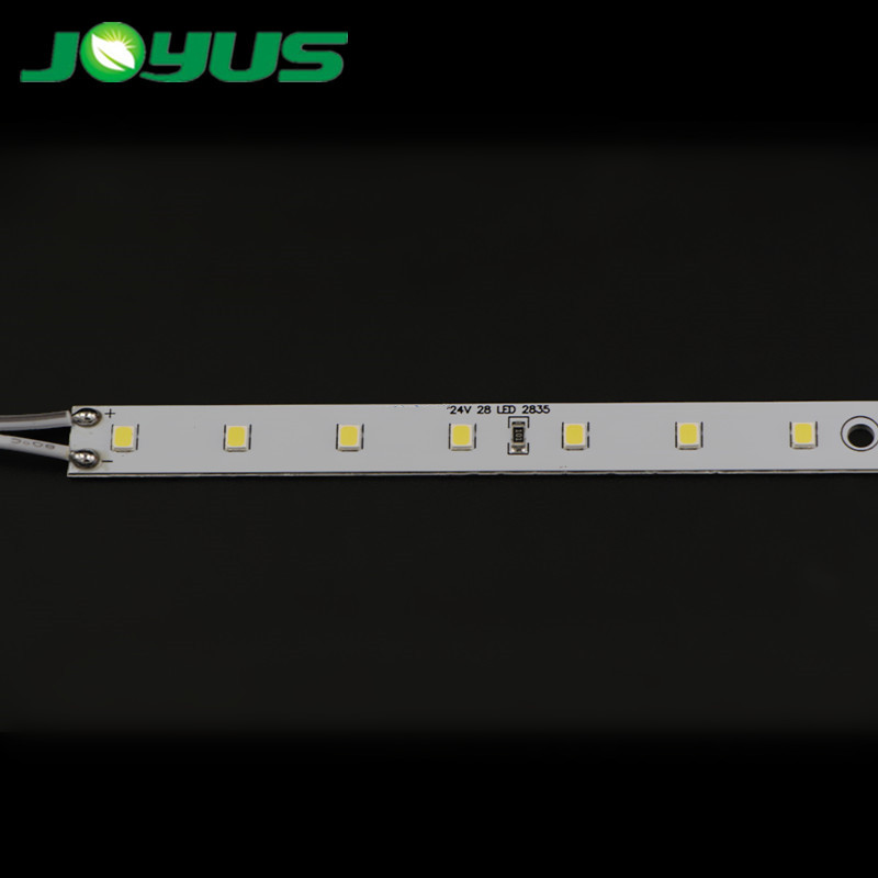 Customized high quality SMD2835 LED rigid strip SMD2835 24V 28 leds 400mm 10mm wide pcb 2W with 54cm cable SM female connector for furniture cabinet