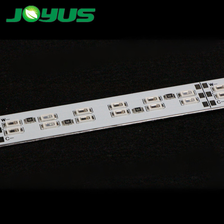indoor ip20 non-waterproof pcb led grow bar light 660nm red 450nm blue color super bright doublw-rows 144 leds/m 30W